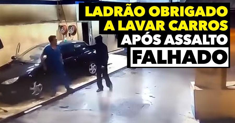 Ladrão obrigado a LAVAR CARROS após Assalto Falhado