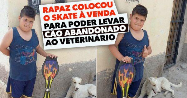 Rapaz põe o skate à venda para ajudar cão abandonado