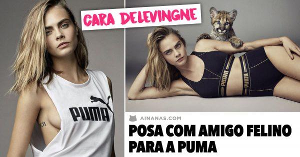 Cara Delevingne posa com amigo felino para a PUMA