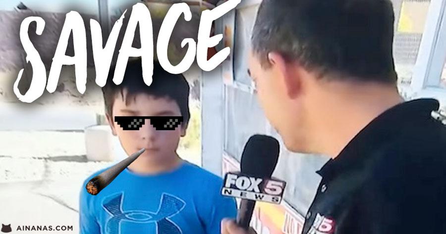 Miudo SAVAGE trolla reporter a Sangue Frio