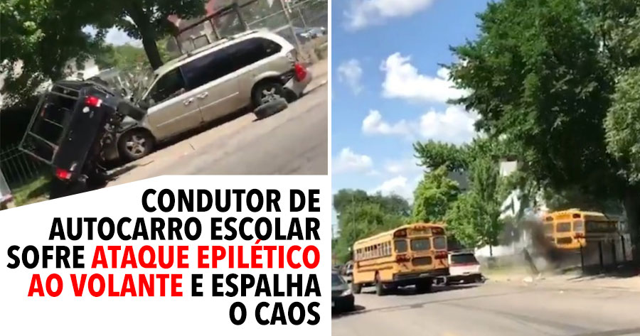 Condutor de Autocarro Escolar sofre convulsão ao volante e arrasa tudo