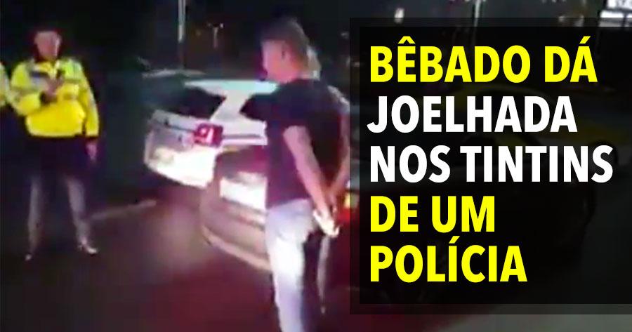 Bêbado dá JOELHADA NOS TINTINS a um polícia... e leva na boca!