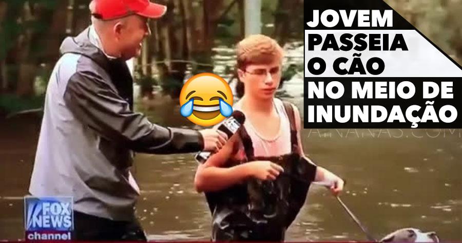 Gajo Apanhado a Passear o Cão Durante uma Inundação