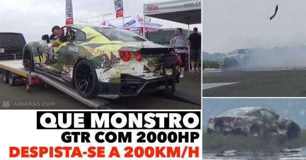 Bruto Nissan GTR com 2000HP despista-se a 200km/h
