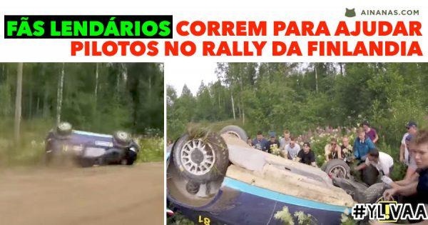 Fãs correm para Ajudar Pilotos Acidentados no Rally da Finlandia