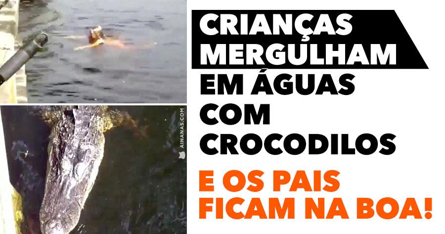 Crianças Mergulham em Água com Crocodilos… e os pais ficam na boa!