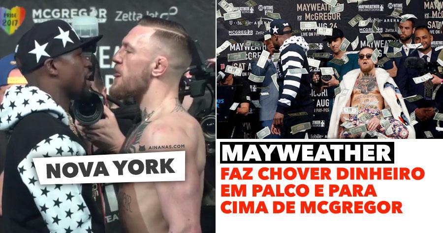 """MAYWEATHER """"faz chover"""" dinheiro para cima de McGregor em Nova York"""