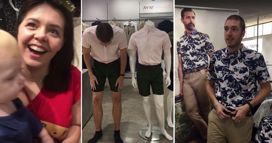 Casal diverte-se à grande a Imitar Visual dos manequins das Lojas