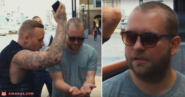 Mágico de Rua finge atirar o iPhone de um Gajo ao Rio