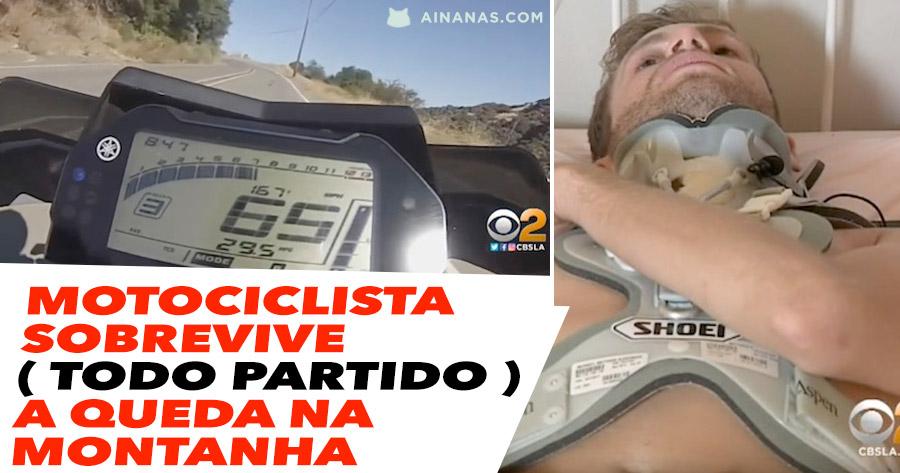 Motociclista Sobrevive ( TODO PARTIDO ) a Queda na Montanha