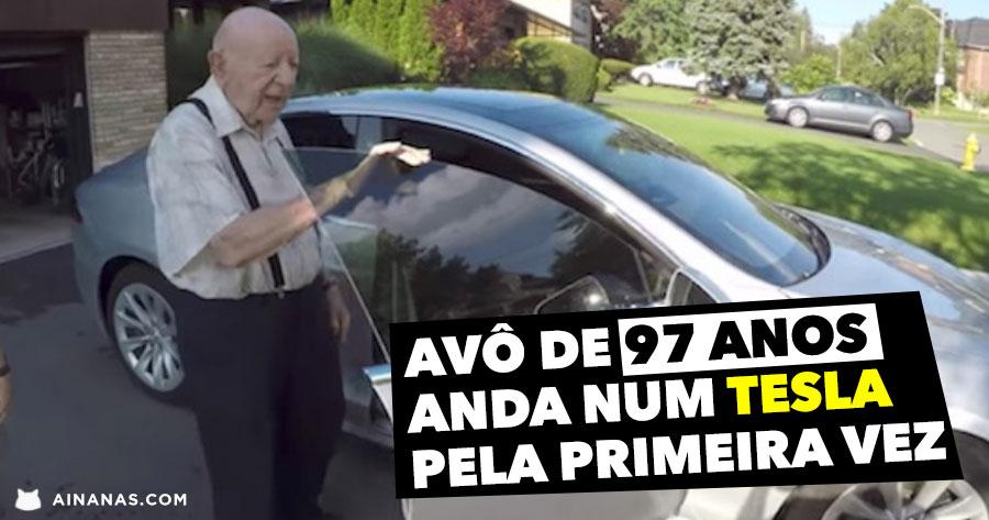 Avô de 97 Anos anda num TESLA pela Primeira Vez