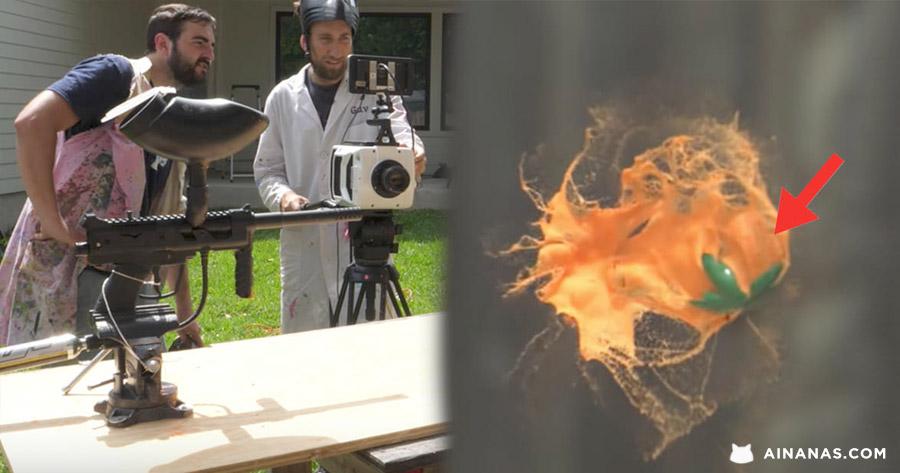 Espetacular colisão de bolas de PAINTBALL filmada em Super Slow Motion