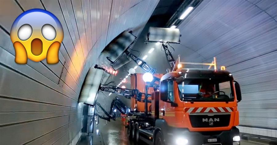 Vê esta incrível máquina usada para LAVAR TUNEIS na Suiça