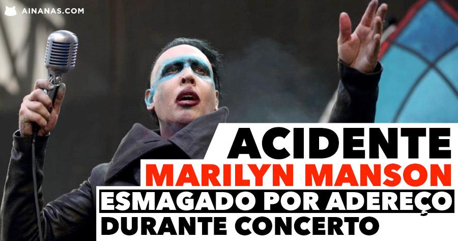 MARILYN MANSON Esmagado por Adereço durante concerto