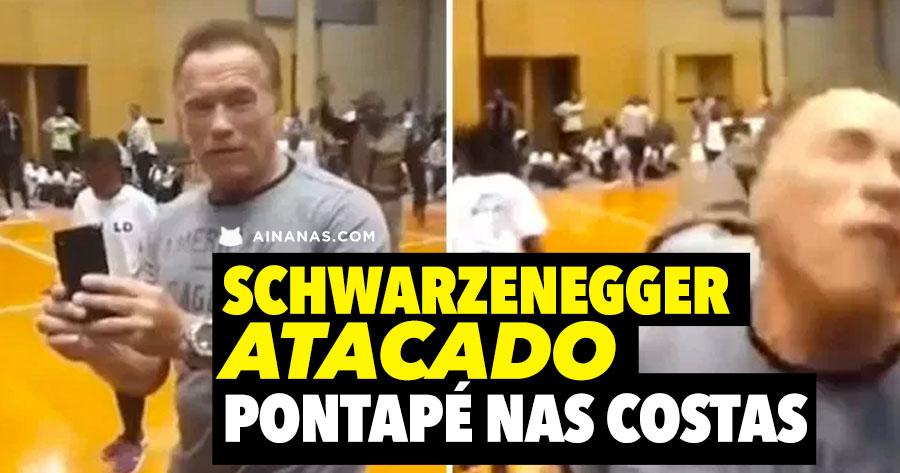 Arnold Schwarzenegger ATACADO com pontapé nas costas