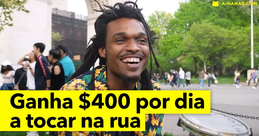 Músico de rua ganha até 400 DOLARES por dia