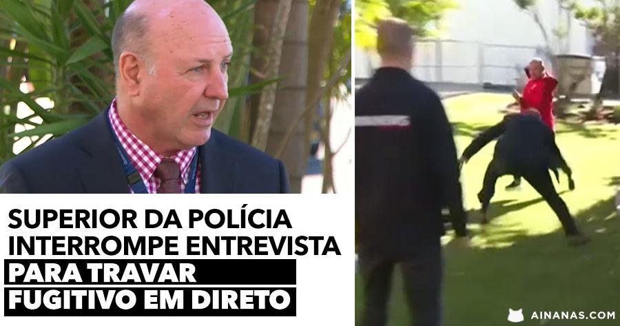 Superior da Polícia interrompe entrevista para travar fugitivo em direto