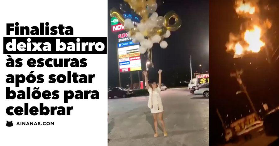 Rapariga DEIXA BAIRRO ÀS ESCURAS ao lançar balões