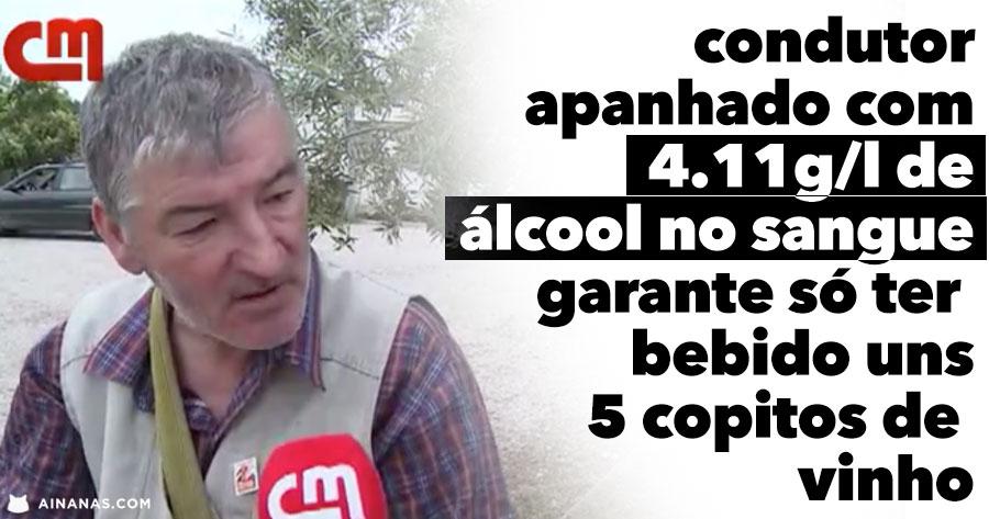 Tuga apanhado com 4.11g/l álcool diz que só bebeu uns 5 copitos de vinho