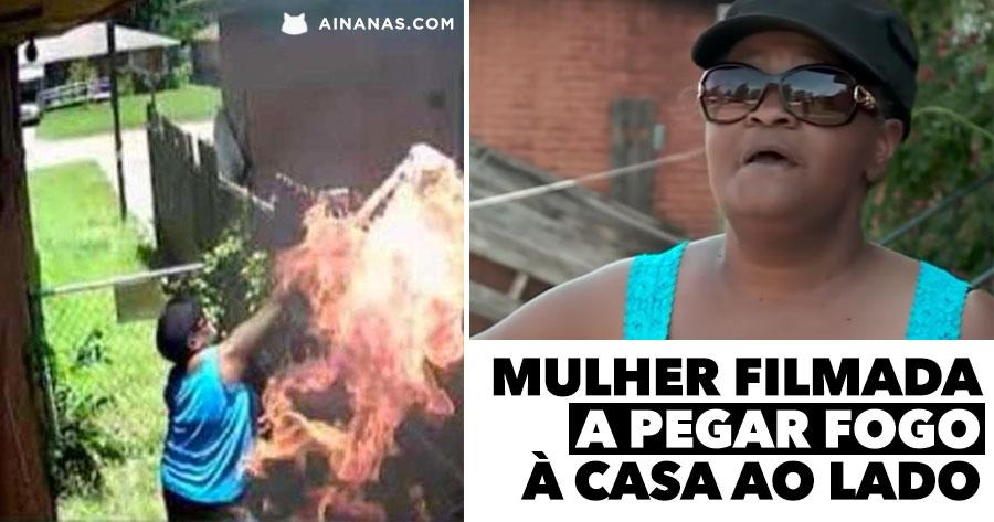 Mulher filmada a DAR TIROS e PEGAR FOGO à casa ao lado