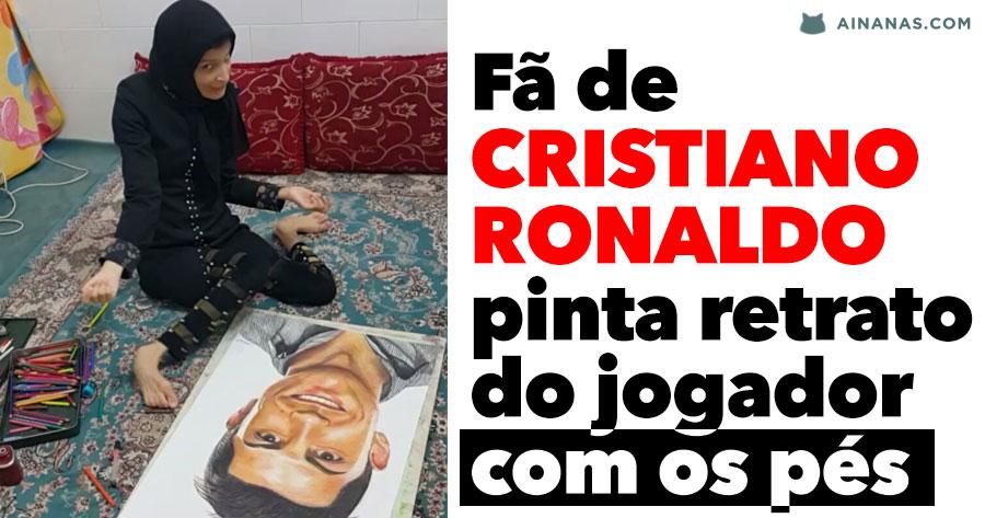 Fã de CRISTIANO RONALDO pinta retrato do jogador com os pés