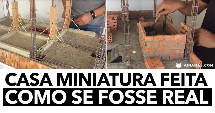 Casa Miniatura feita com CIMENTO E TIJOLO