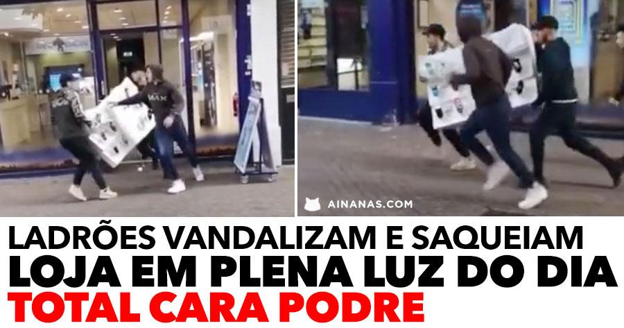 Ladrões atacam em PLENA LUZ DO DIA e roubam estante inteira de telemóveis